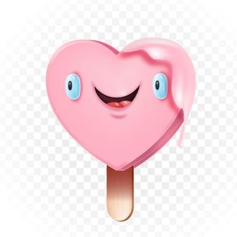 Illustrazione sveglia di amore del ghiacciolo kawaii a forma di cuore sul bastone di legno isolato su bianco. divertente romantico rosa gelato smiley face 3d concept. cartolina di san valentino con carattere ghiacciolo kawaii
