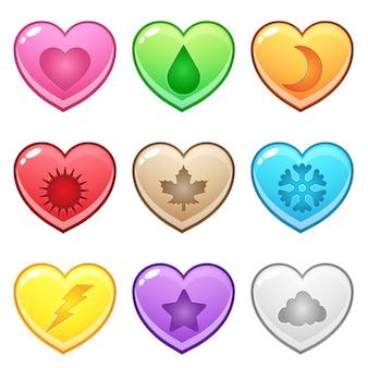 Pulsante a forma di cuore carino rappresenta vari simboli di stagione.