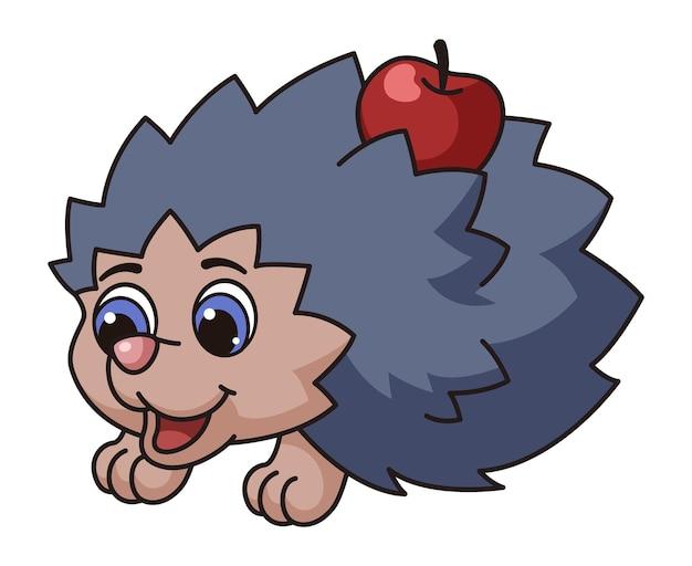 Riccio carino. personaggio della natura selvaggia degli animali del bambino della foresta dei cartoni animati