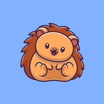 Illustrazione sveglia dell'icona del fumetto del riccio. natura animale icona concetto isolato. stile cartone animato piatto