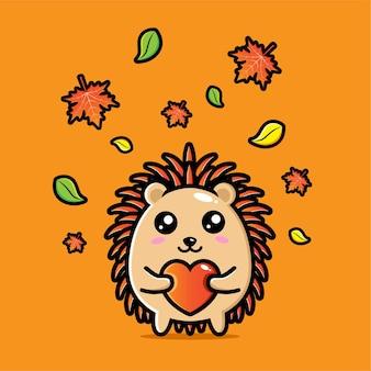 Simpatico disegno a riccio che abbraccia il cuore in autunno