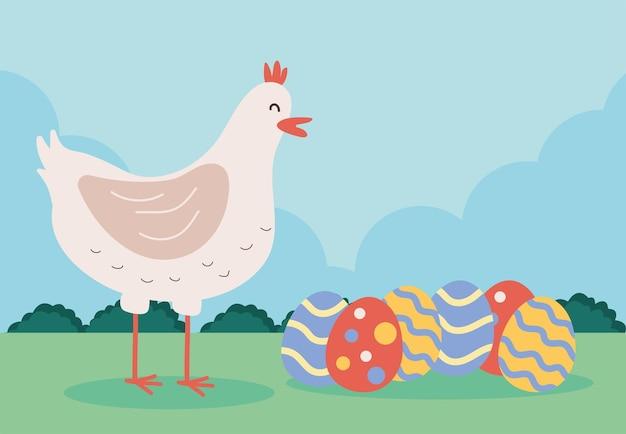 Simpatico uccello gallina con uova dipinte nell'illustrazione del campo