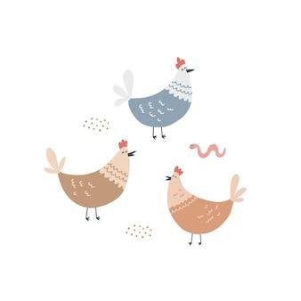Galline carine e un verme nell'aia. illustrazione vettoriale disegnata a mano per il design dei bambini.