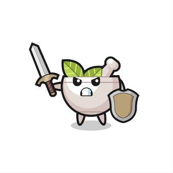 Simpatico soldato con ciotola di erbe che combatte con spada e scudo, design in stile carino per maglietta, adesivo, elemento logo
