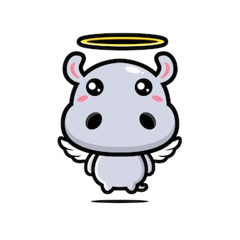 Simpatico personaggio di ippopotamo angelo