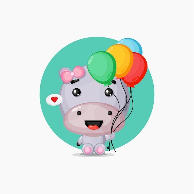 Ippopotamo carino che trasportano palloncini colorati