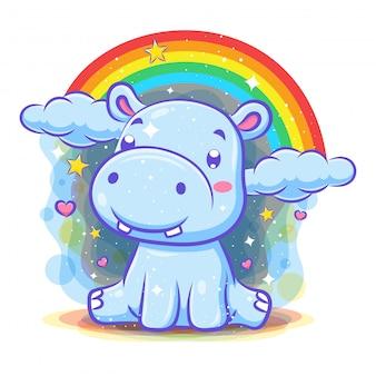 Simpatico personaggio di ippopotamo con sfondo arcobaleno