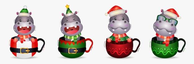 Simpatica collezione di personaggi natalizi ippopotamo con un cappello