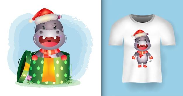 Simpatici personaggi natalizi ippopotamo che usano cappello e sciarpa di babbo natale nella confezione regalo con design t-shirt