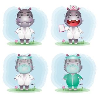 Simpatico ippopotamo nella collezione di costumi di medico e infermiere