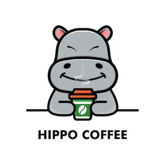 Simpatico ippopotamo bere tazza di caffè fumetto animale logo caffè illustrazione