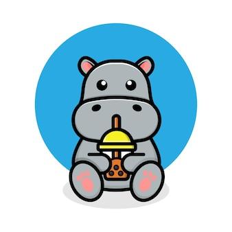 Simpatico ippopotamo che beve boba tea cartoon illustrazione