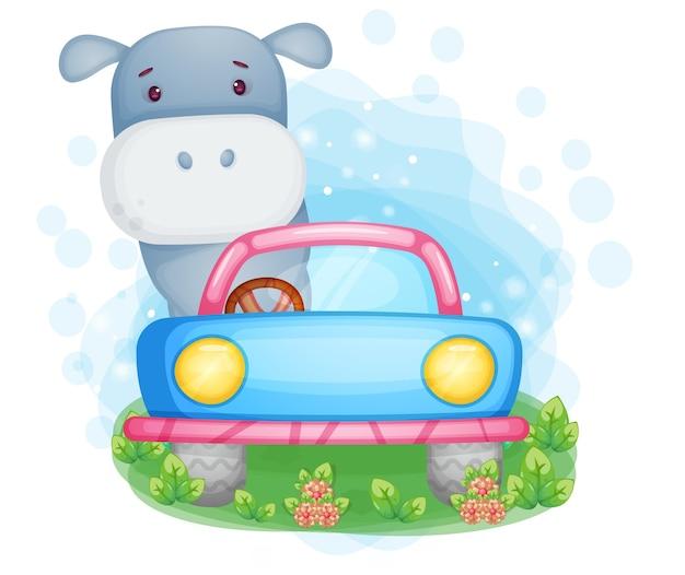 Ippopotamo sveglio che guida l'illustrazione dell'automobile
