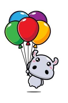 Simpatico ippopotamo che vola con palloncini