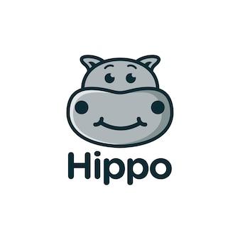 Simpatico logo del fumetto della mascotte dell'ippopotamo dell'ippopotamo