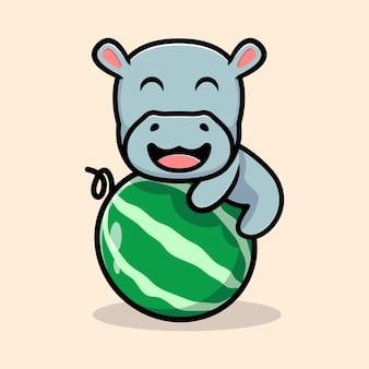 Simpatico ippopotamo abbraccio disegno mascotte frutta anguria
