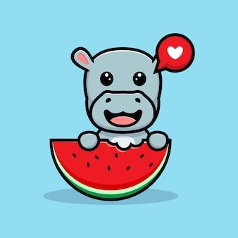 Simpatico ippopotamo ama mangiare il disegno della mascotte dell'anguria