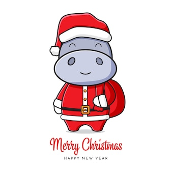 Simpatico ippopotamo santa saluto buon natale e felice anno nuovo cartone animato doodle card illustrazione