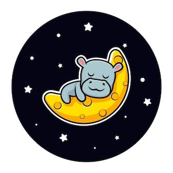 Simpatico ippopotamo che dorme sul design della mascotte della luna