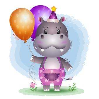 Un ippopotamo carino con cappello di compleanno e tiene un palloncino