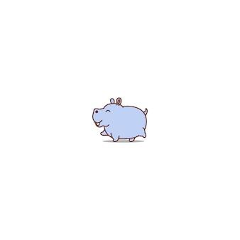 Icona del fumetto di camminare ippopotamo carino