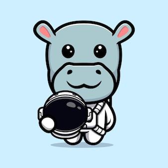 Ippopotamo sveglio che indossa il disegno della mascotte del vestito dell'astronauta