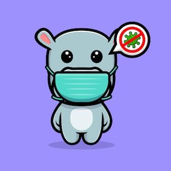Simpatico ippopotamo che indossa una maschera per prevenire il design della mascotte del virus
