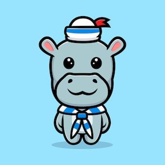 Simpatico ippopotamo che indossa un design mascotte uniforme da marinaio