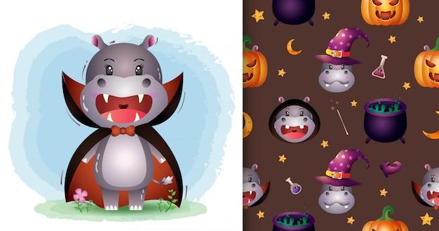 Un simpatico ippopotamo con il costume di dracula collezione di personaggi di halloween. modelli senza cuciture e illustrazioni