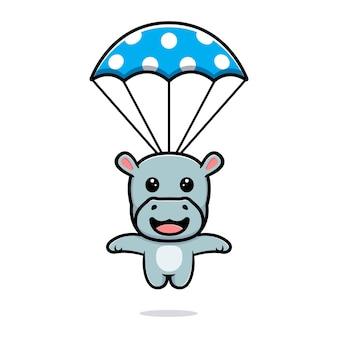 Simpatico ippopotamo con un design mascotte paracadute