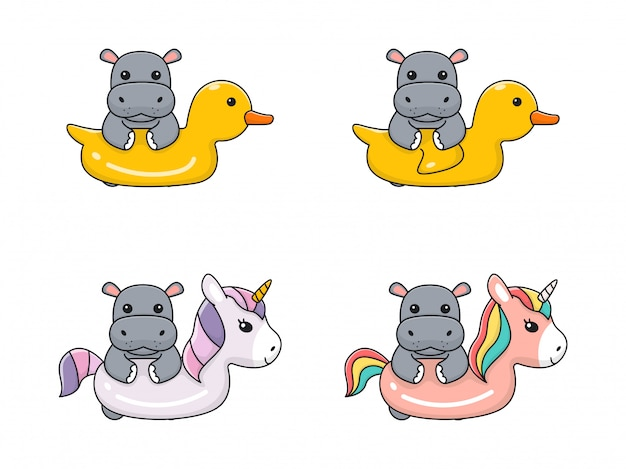 Simpatico ippopotamo con anello di nuotata unicorno e anatra
