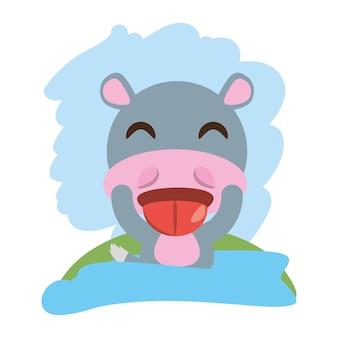 Animale carino ippopotamo ammiccante