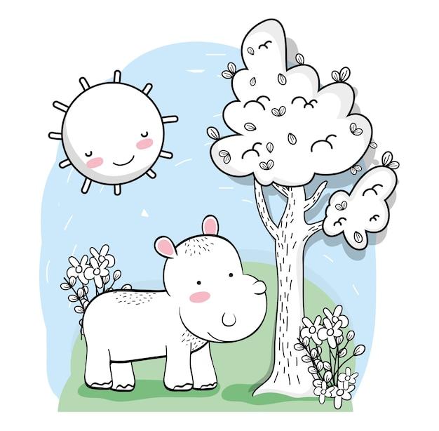Ippopotamo carino con sole felice e albero