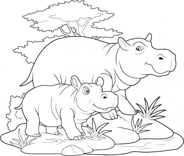 Libro da colorare carino ippopotami