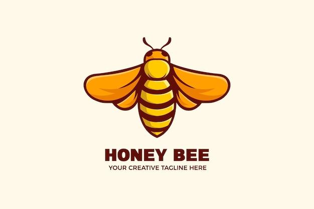 Simpatico modello di logo del personaggio mascotte dell'ape del miele