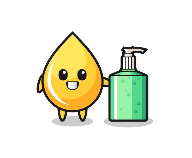 Simpatico cartone animato goccia di miele con disinfettante per le mani, design in stile carino per t-shirt, adesivo, elemento logo