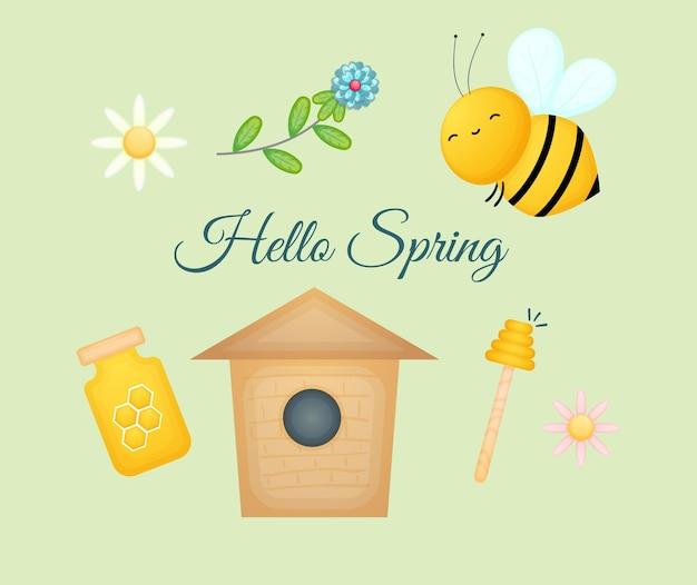 Gli elementi svegli dell'alimento del miele hanno messo con l'illustrazione di vettore isolata favo del calabrone della margherita vettore premium