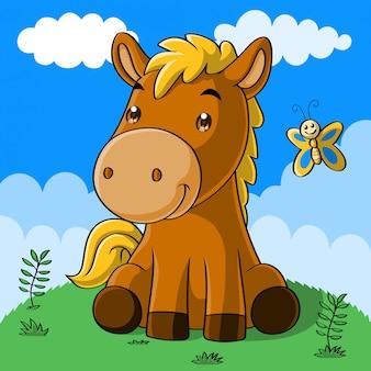 Simpatico cartone animato di cavallo, disegnato a mano