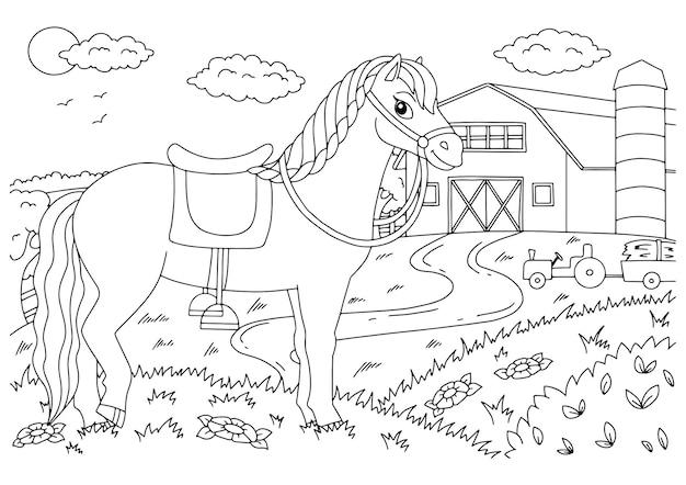 Cavallo carino animale da fattoria pagina del libro da colorare per bambini