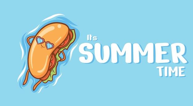 Simpatico hot dog galleggiante rilassarsi con uno striscione di auguri estivi