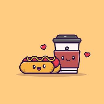 Hot dog sveglio con l'illustrazione dell'icona del caffè. concetto dell'icona della bevanda e dell'alimento isolato. stile cartone animato piatto