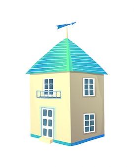 Casa sveglia isolata sull'illustrazione disegnata a mano di vettore dell'oggetto bianco di clipart.
