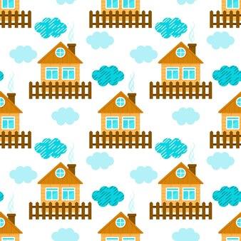 Case e nuvole carine. modello senza soluzione di continuità. stile cartone animato. illustrazione vettoriale.