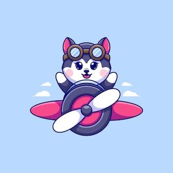 Simpatico cane husky che vola con un cartone animato di un aeroplano