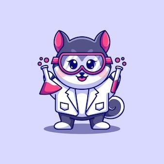 Simpatico cartone animato scienziato cane husky
