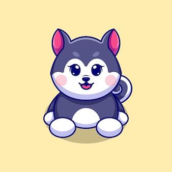 Simpatico cane husky seduto disegno cartone animato