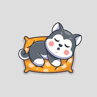 Simpatico cane husky che dorme sul cartone animato del cuscino