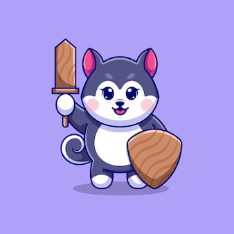 Simpatico cane husky con spada di legno e scudo di legno