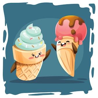 Illustrazione sveglia di vettore del cono gelato
