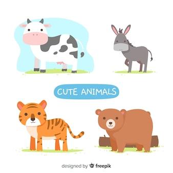 Simpatici animali illustrati impostati Vettore Premium